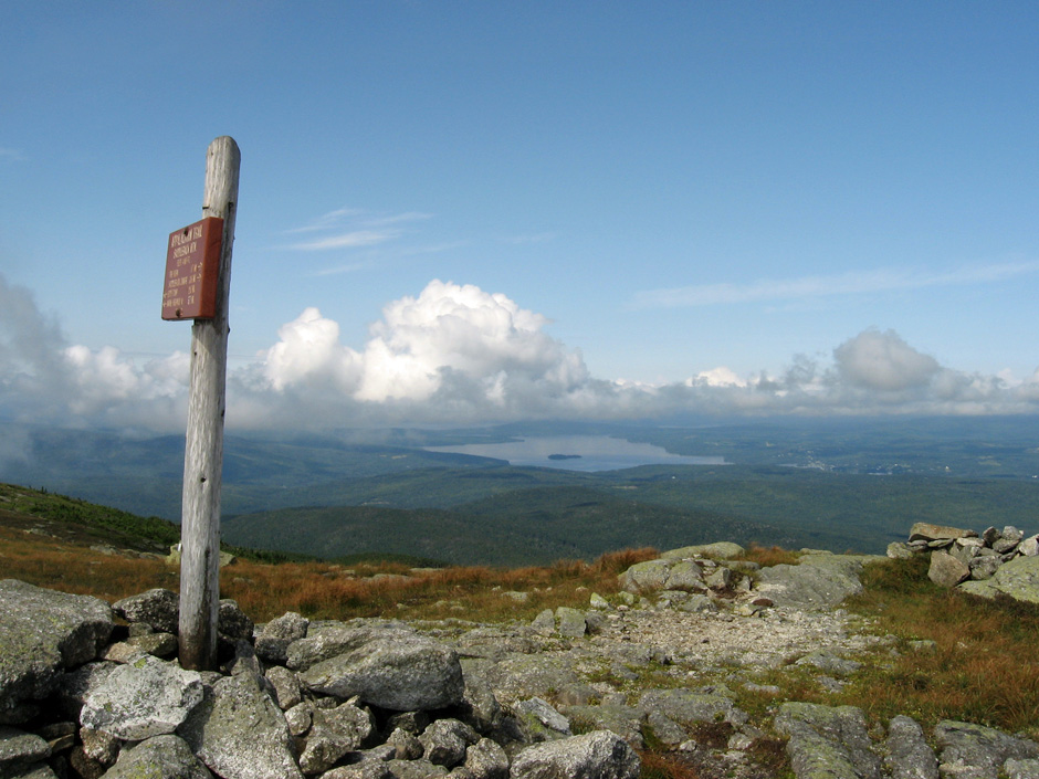 Summit of Saddleback Mountain on Maine Appalachian Trail hike