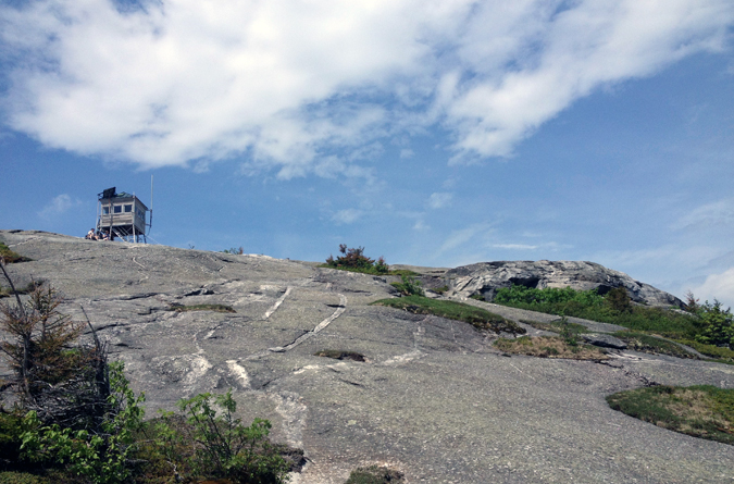 First glimpse of the fire tower atop Mt. Cardigan.